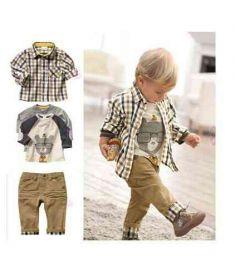 Boy 3Pcs Suits T-Shirt Shirt Pants