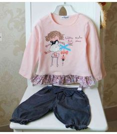 Cartoon Long Sleeved Sweater and Jeans Suit