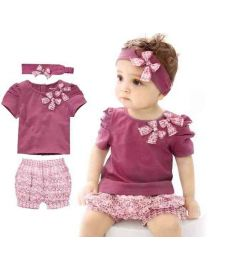 Newborn Baby Girl Set Sleeve Romper Headband and Pants
