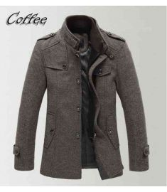 Winter Men Jacket Down Jacket Windproof Trench Jacket Woolen Coat