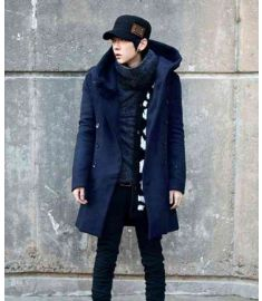 Man's Coat Long Type Hooded Double Breasted Coat