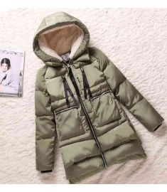 Womens Hooded Zipper Wadded Coat