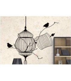 Birds Cage & Tree Branch Wall Sticker