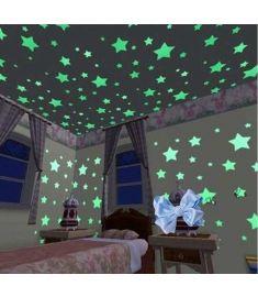 100pcs/Set Beautiful Stars Luminous Fluorescent 3D