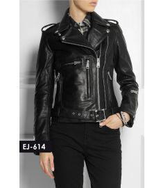 WOMEN'S GENUINE LEATHER CLASSIC MOTO BIKER JACKET (REJ-614)-Medium