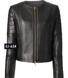 WOMEN'S GENUINE LEATHER COLLARLESS BIKER JACKET (REJ-624)-Medium