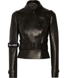 WOMEN'S GENUINE LEATHER DOUBLE-BREASTED JACKET (REJ-632)-Small