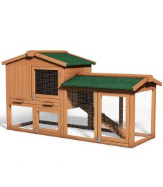 "58"" Large Wooden Rabbit Hutch Chicken Coop"