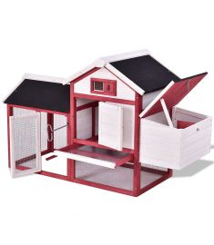 "60"" Rabbit Bun Hutch House with Black Roof"