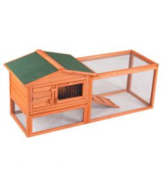 Two-Sto Wooden Rabbit Hutch Pet House with Tr