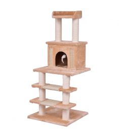 "52"" Tower Condo Scratching Post Cat Tree w/ Rope and Mouse-Beige"