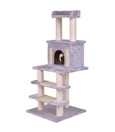 "52"" Tower Condo Scratching Post Cat Tree w/ Rope and Mouse-Gr"