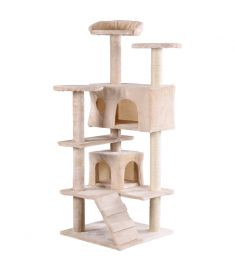 "52"" Cat Scratching Post and Ladder Kitten Tower Tree -Beige"