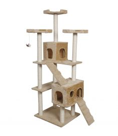 "70"" Condo Sisal-Covered Scratching Posts Cat Tree-Beige"