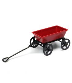 Dollhouse Metal Miniature Toy Red Small Pulling Cart Garden Furniture Accessories