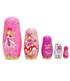 5pcs/Set Wooden Angel Fairy Russian Babushka Matryoshka Nesting Dolls