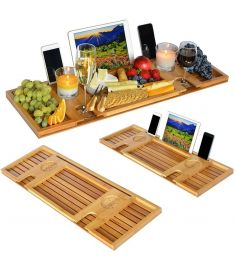 Bamboo Bathtub Caddy Tray with Reading Rack/Tablet Holder/Cellphone Tray/Wine Glass Holder