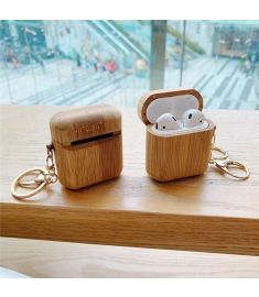 Bakeey luxury Soild wood Earphone Storage Protective Case with Keychain for Apple AirPods 1 / Apple AirPods 2