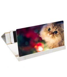 12 Inch 3D Stereoscopic Amplifying Magnifier Desktop Wood Bracket Phone Holder