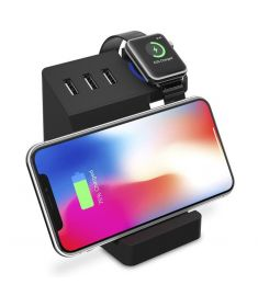 Bakeey 3 USB Ports Qi Wireless Charging Desktop Phone Holder Stand for Cell Phone Tablet Apple Watch