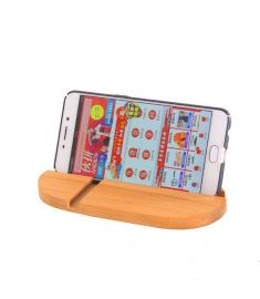 Universal Bamboo Dual Slots Desktop Bracket Phone Holder Stand for Xiaomi Mobile Phone Tablet