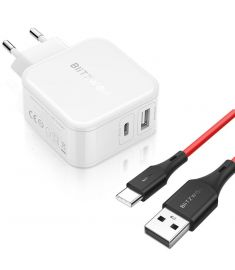 BlitzWolf BW-S11 30W Type-C PD/QC3.0+2.4A Dual USB Charger EU + BW-TC15 3A USB Type-C Charging Data Cable