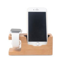 Bamboo Universal Desk Stand Charging Station Holder For Cell Phone iWatch
