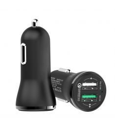 CC-37 Dual USB Black Car Charger 2.4A Fast ChargeFor Xiaomi Samsung Huawei iPhone iPad