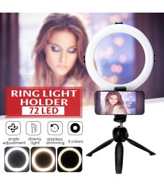 Live Video Dimmable LED Ring Light Photography Adjustable 360 Rotating Fill Light with Phone Clip Selfie Holder Tripod for Beauty Makeup