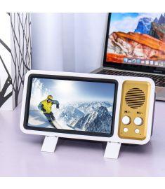Retro TV Design 3D Phone Screen Magnifier Mini bluetooth Speaker Cell Phone Holder