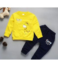 Christmas 1-4 Years Old Kids Winter Clothes Giraffe Printed Boys T-shirt Set - children's winter outfits
