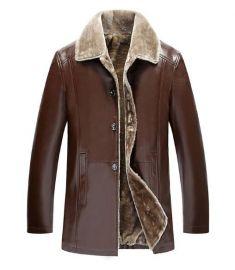 Winter Fur Leather Jacket For Men Plus Size Suede Leather Jackets Faux Fur