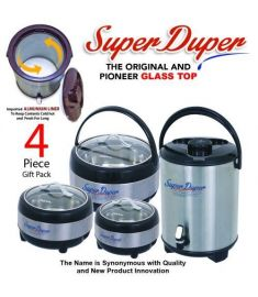 Aladdin online mall Happy Super Duper Glass Top 4 PCs Gift Pack/Hot Pot Plus Water Cooler